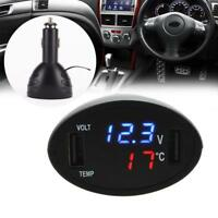 3in1 Digital Voltmeter Thermometer 12V/24V Cigarette Lighter USB Car Charger Pro
