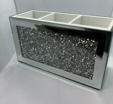 Mirror Crushed Glass diamante Beauty Box Makeup Brush Remote Crystal Holder