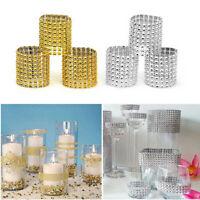 100Pc Napkin Rings Buckle Diamond Rhinestone Mesh Wrap For Bridal Wedding Party