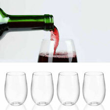 4X/Set Unbreakable Wine Glasses Shatterproof Plastic Party Picnic 450ml Stemless