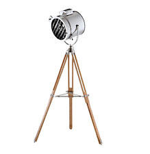 Vintage industrial style wood and chrome camera head tripod floor light