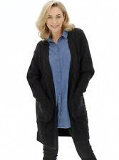 CL15# Capsule Womens Cosy Black Longline Deep Cuff Cable Cardigan Uk 16/18