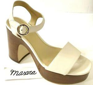 W MK Michael Kors Fiona Ankle Strap Block Heel Pump Sandal Leather Light Cream