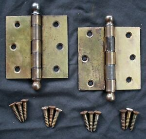 "4 availble CLEAN Pair 3""x3"" Antique Vintage Old Brass Steel Interior Door Hinges"