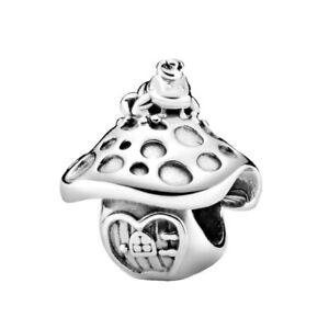 New Authentic PANDORA Mushroom & Frog Silver S925 ALE Charm #798558C00