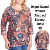 New Onque Casual Woman 3X Tunic Top Blouse Aztec Rhinestones Stretch Semi Sheer