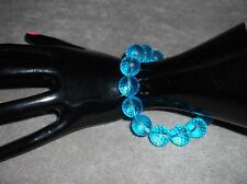 Topaz Bead Stretch Bracelet ~ 14mm Genuine Cushion Cut Faceted London Blue