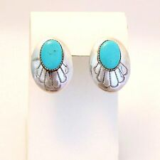 "Southwestern Sterling Silver and Turquoise Post Earrings  - Signed ""BB"""