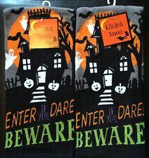 Set Of 2 Halloween Haunted House Kitchen or Bathroom Dish or Hand Tea Towels