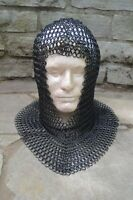 NEW Medieval Knights Butted Chian mail STEEL MAIL COIF Head Armor Helmet Liner