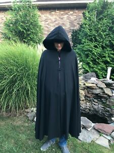 Vintage Black Hooded Cape Satin Lining Formal Cape or Perfect as a Costume