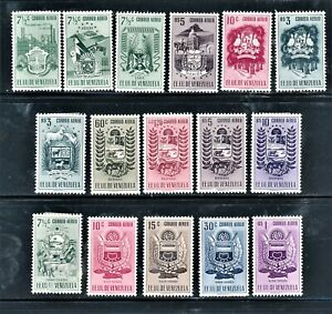 VENEZUELA 1951-54 AIRMAIL ARMS ISSUES 16 DIFFERENT CV $97