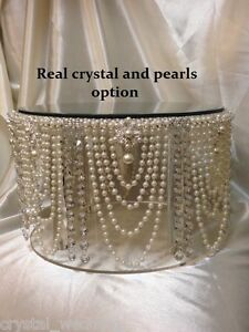 Vintage pearl & crystal cake stand for wedding cakes gold or silver tone option