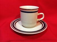 Regency Band Collection Stoneware Cup and Saucer Blue/brown Restaurant Ware