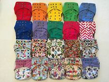 5 Happy Flute One Size All-In-One Charcoal Bamboo Cloth Diaper. Fit 10-40lb.