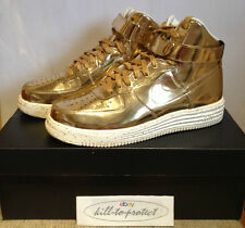 NIKE AIR FORCE ONE 1 LIQUID METAL GOLD US12 UK11 TZ 652845-770 Metallic 2014