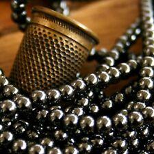 "30 Perles Rondes ""HÉMATITE"" Ø 4 mm  GRIS ANTHRACITE"