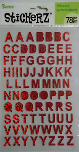 Red Holographic Alphabet Stickers Upper Case 78 Pcs  Darice  Free Shipping  NIP