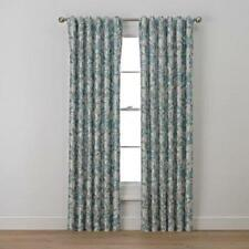 Set of Richloom Curtain Luella Nature/Floral Semi-Sheer Rod Pocket Abyss Green