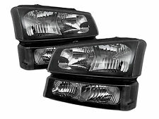 03-06 Chevy Silverado 1500/2500/3500 HD Headlights + Bumper Light Black Clear