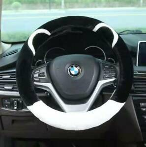 UKNEST COTTON+ WHITE BK STITCH STEERING WHEEL COVER GLOVE FOR UNIVERSAL CARS