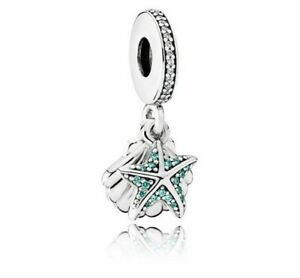 PANDORA Charm Sterling Silver ALE S925 STARFISH & SEA SHELL DANGLE 792076CZF
