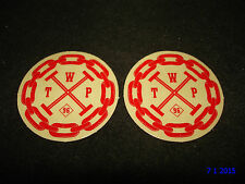 2 AUTHENTIC SMALL ROUND WETHEPEOPLE BMX BIKES RED STICKERS #59 DECALS AUFKLEBER