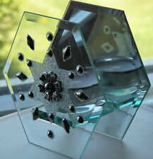 FINE COLLECTIBLE IS THIS PARTYLITE HEXAGON CANDLE HOLDER CLEAR & MIRRORED BACK