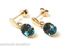 9ct Gold London Blue Topaz drop Earrings Boxed