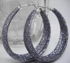 "E1036 Dull Polish Gray Hoop Earrings Diameter 1.77"" Fashion Girl/Lady Jewelry"