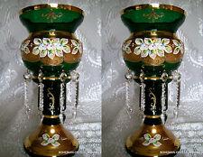 CZECH BOHEMIA SLAVIA HI ENAM EMERALD GREEN CRYSTAL GLASS MANTLE LUSTRE VASES 2PC