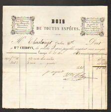 """LIMOGES (87) BOIS pour MENUISERIE & CHAUFFAGE """"H. CHIBOYS"""" en 1860"""