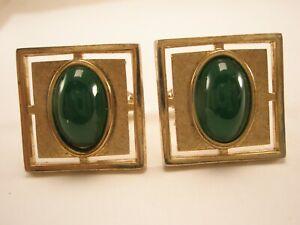 -Jade Green Stone & Square Gold Tone Vintage ANSON Cuff Links