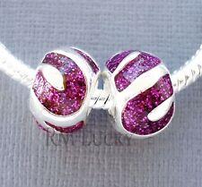 2 pcs Purple Spacer Charms Beads large hole Fit European Style Bracelet C32