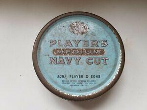 Vintage Round Cigarette Tobacco Tin Player's Medium Navy Cut JPS