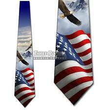 Waving Flag with Eagles Neckties Mens Patriotic Neck Ties Brand New