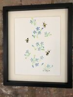 Bumble Bees On Forget Me Not, Original Watercolour Painting, Original Art