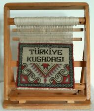 Miniature Turkish Vertical Rug Loom with Miniature Handwoven Rug 34cm Tall