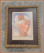 VTG 50s Gemey Makeup Framed Print Ad Paris La Poudre, Mature Lady,Blonde,French