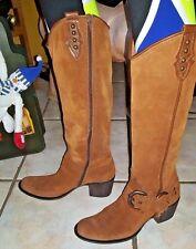 APEPAZZA British Tan Brown Suede Atena Vera Gomma Women's Riding Tall Boots 8N