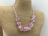 Vintage Style Necklace Glass Faceted Pink Crystal Aurora Borealis Cluster Choker