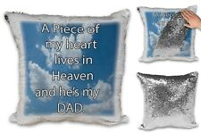 A Piece Of My Heart Lives in Heaven And He's My DAD Sequin Reveal Cushion Cover
