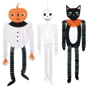 MERI MERI HALLOWEEN Hanging Honeycomb Decorations Pumpkin Skeleton Cat (3 Pack)