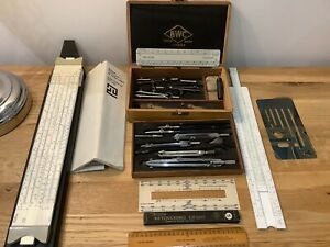 Antique Drawing Instrument Set BWC London Mathematical compasses 1940s Beech box