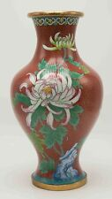 Antique Early 20th C large Chinese Cloisonne Vase 12''