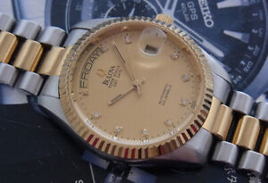 NICE VINTAGE BULOVA SUPER SEVILLE DAY & DATE AUTOMATIC SWISS MADE 2 TONE WATCH
