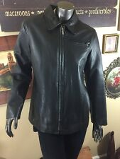 Women's Classic Gap Black Leather Zip Collar Lined Jacket Med