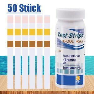 50x Pool Teststreifen 3in1 Chlor Brom pH Wert Alkalität Pooltester Wassertester