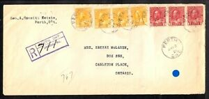 PERTH, ONT., 1925 13c REGISTERED RPO COVER to CARLETON PLACE