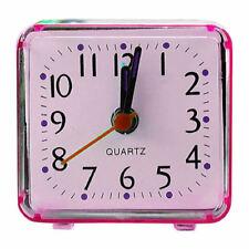Small Pink Travel Mini Quartz Alarm Analogue Clock Battery Powdered Bedside Time